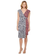 Maggy London Spot Dot Jersey Fit And Flare Dress With Pleated Skirt Coral Navy Women's Dress Multi