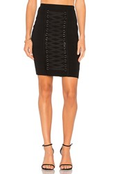 Endless Rose Knitted Pencil Lace Up Front Skirt Black
