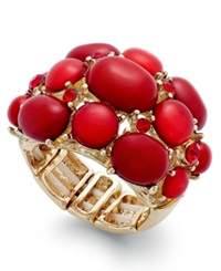 Style And Co. Gold Tone Red Stone Bubble Stretch Ring