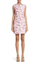 Red Valentino Women's Flamingo Print Faille Fit And Flare Dress