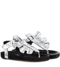 Isabel Marant Leakey Leather And Suede Sandals Silver