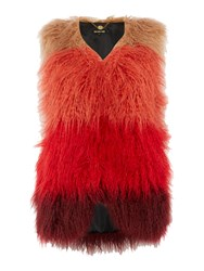 Biba Faux Fur Mongolian Longline Gilet Multi Coloured