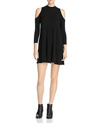 Aqua Mock Neck Cold Shoulder Dress Black