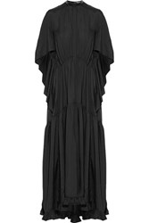 Petar Petrov Leather Trimmed Silk Jacquard Maxi Dress Black