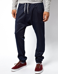 Solid Sweatpants With Drop Crotch Navy