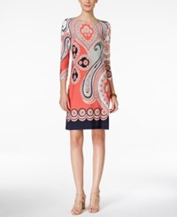 Inc International Concepts Paisley Print Shift Dress Only At Macy's Polished Coral