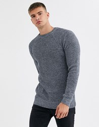 New Look Raglan Tuck Stitch Crew Neck Jumper In Blue Fleck