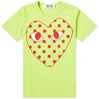 Comme Des Garcons Play 'S Red Heart Polka Dot Logo Tee Green