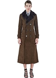 Saint Laurent Long Suede Shearling Trench Coat Brown