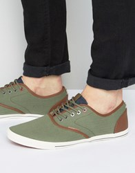 Jack And Jones Spider Canvas Herringbone Plimsolls Green