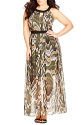 Plus Size Women's City Chic Print Keyhole Maxi Dress