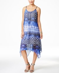 Ny Collection Printed Handkerchief Hem Maxi Dress Blue Ombre