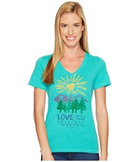 Life Is Good Mountains Cool Vee Bright Teal Women's T Shirt Blue
