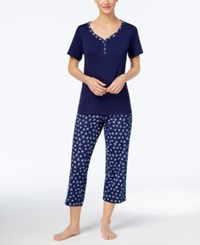 Charter Club Printed Cotton Knit Pajama Set Only At Macy's Ditsy Flowers