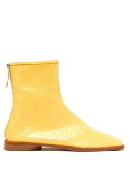 Acne Studios Berta Square Toe Grained Patent Leather Boots Beige