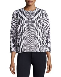 Monique Lhuillier Houndstooth 3 4 Sleeve Jacket Women's