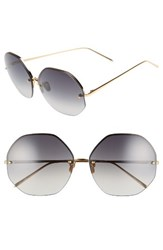 Linda Farrow Women's 63Mm Semi Rimless Round Titanium Sunglasses Yellow Gold Grey Yellow Gold Grey
