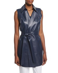 Lafayette 148 New York Diora Long Belted Leather Vest Women's Bateau Blue