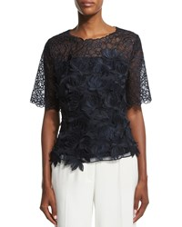 Escada Short Sleeve 3D Embroidered Lace Blouse Navy