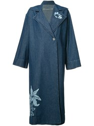 Raquel Allegra Floral Print Denim Trench Coat Blue