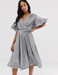 Forever Unique Metallic Ruffle Sleeve Wrap Dress Multi