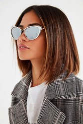Urban Outfitters Metal Edge Cat Eye Sunglasses Silver