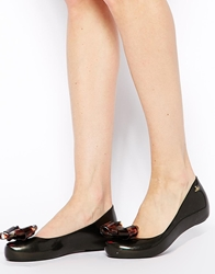 Vivienne Westwood For Melissa Tortoise Shell Bow Flat Shoes Black
