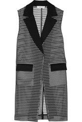 Milly Crepe Trimmed Mesh Gilet Black