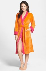 Women's Echo Colorblock Microvelour Kimono Robe Orange Pink