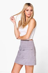 Boohoo Jumbo Cord Pocket Front Mini Skirt Smoke
