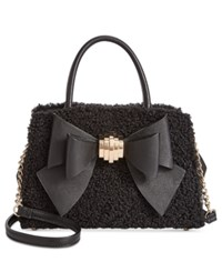 Betsey Johnson Medium Satchel With Removable Bow Black Curly