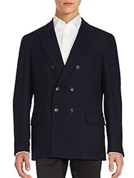 Brunello Cucinelli Wool And Silk Blend Double Breasted Jacket Navy