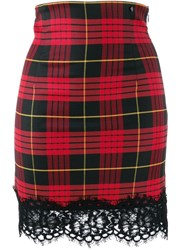 Twin Set Jacquard Tartan Skirt Black