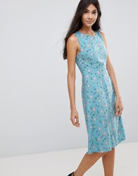 Sugarhill Boutique Mermaid Print Fit And Flare Dress Dusky Blue