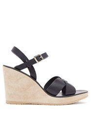 A.P.C. Juliette Leather Wedge Sandals Navy