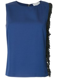 Ck Calvin Klein Fringed Side Top Blue