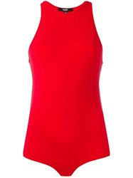 Versus Side Cut Out Bodysuit Red