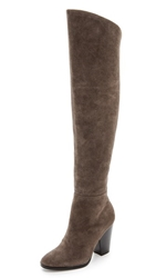 Steven Sleek Suede Over The Knee Boots Taupe