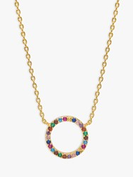 Estella Bartlett Rainbow Cubic Zirconia Circle Pendant Necklace Multi