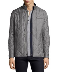 Luciano Barbera Quilted Ribbed Trim Jacket Gray Navy