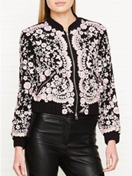 Needle And Thread Prairie Embroidered Bomber Jacket Black