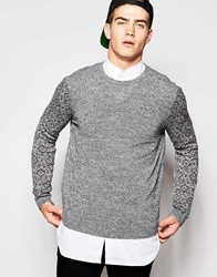 Asos Jumper With Aztec Design On Arms Blackwhitetwist