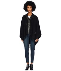The Kooples Leather Poncho With Studs Black Coat