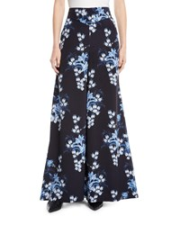 Johanna Ortiz Dream State High Waist Flared Wide Leg Floral Print Silk Pants Blue Pattern