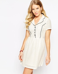 Pussycat London Shirt Dress In Lace Cream