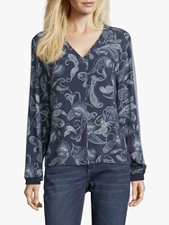 Betty And Co. Paisley Print Blouse Blue Grey