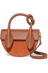 Yuzefi Dolores Suede And Textured Leather Shoulder Bag Brown