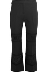 Alexander Mcqueen Cropped Macrame Paneled Wool And Silk Blend Flared Pants Black