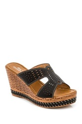 Godiva Laser Cut Wedge Sandal Black