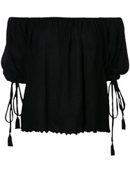 G.V.G.V. Yoryu Chiffon Off Shoulder Blouse Women Polyester Polyurethane Tencel 34 Black